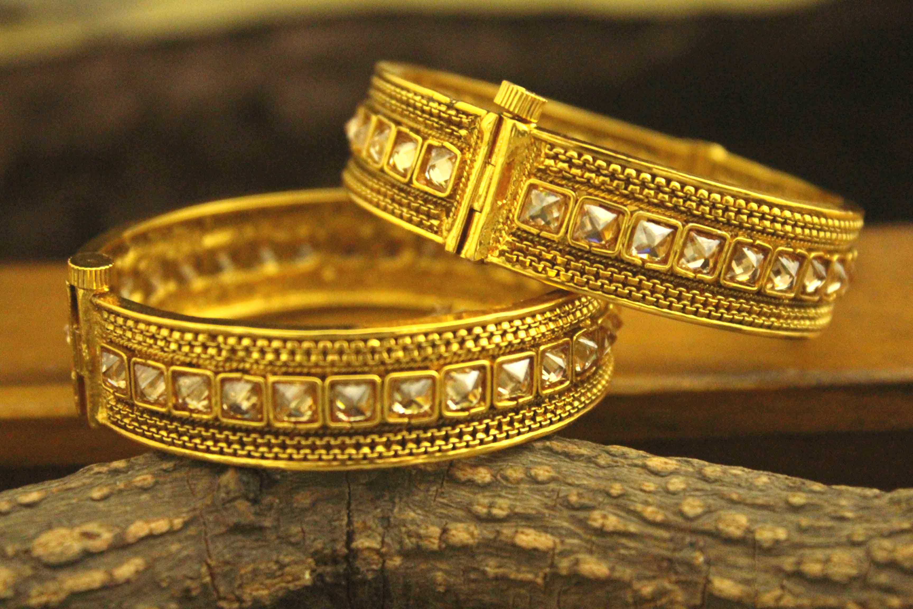 novelties gold on sankha golden and bangle weight one polish wear bengali yr with red pola light guarentee prasad bangles thread fibre daily design products designer