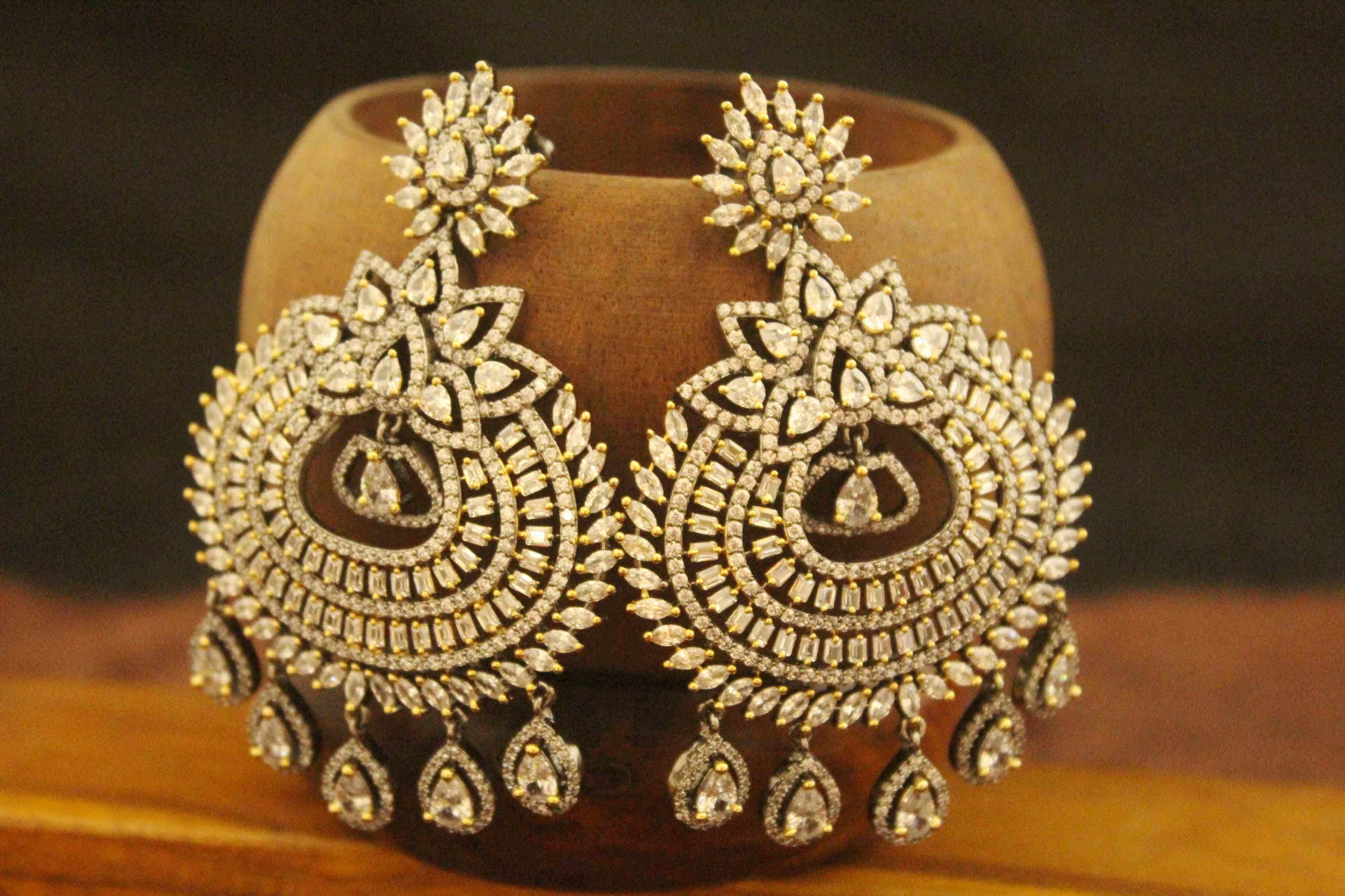 art fusion cat american vilandi jewellery bkp kundan earrings diamond