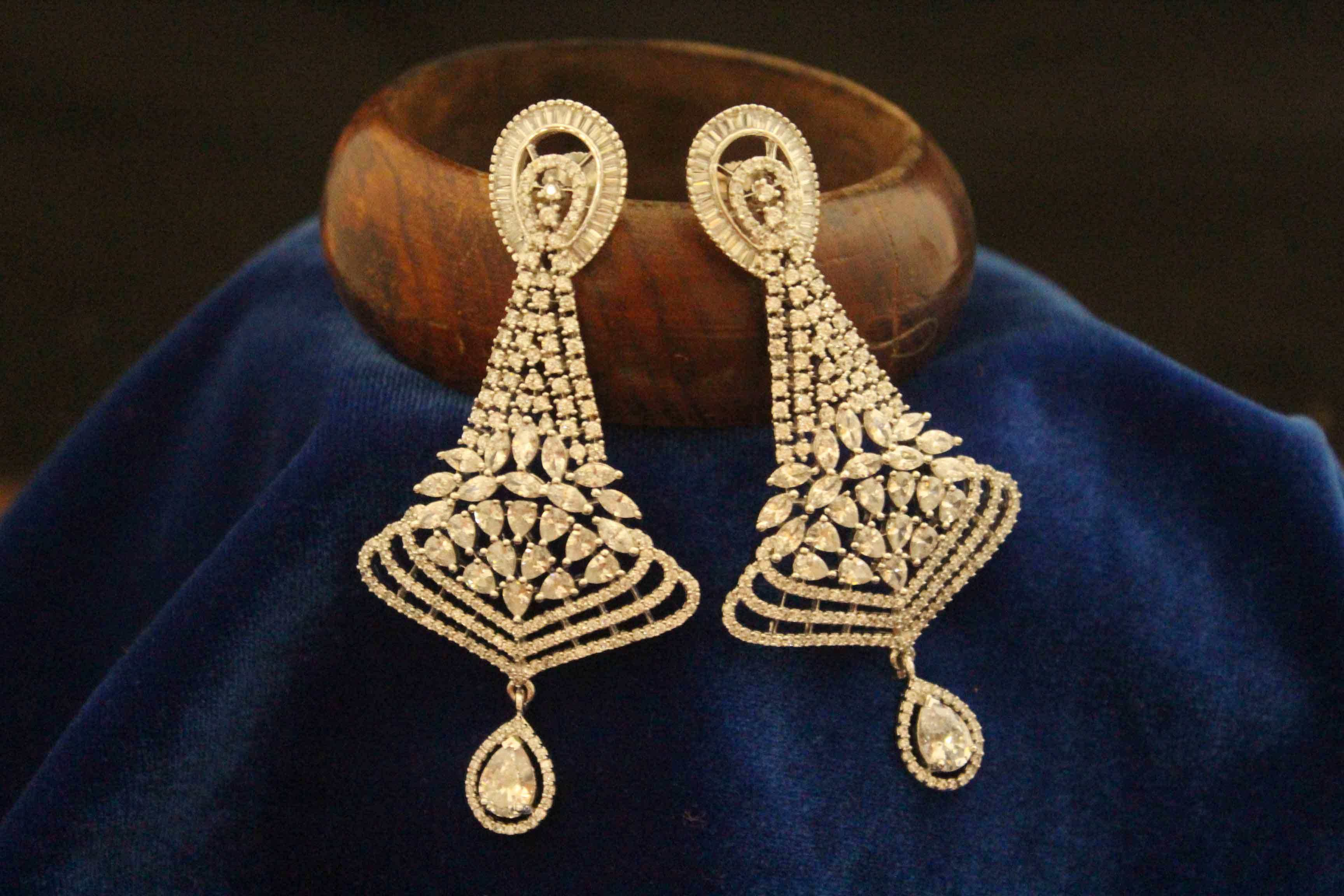 and plated precious american diamond onxy semi along with gold earrings stones pin fan