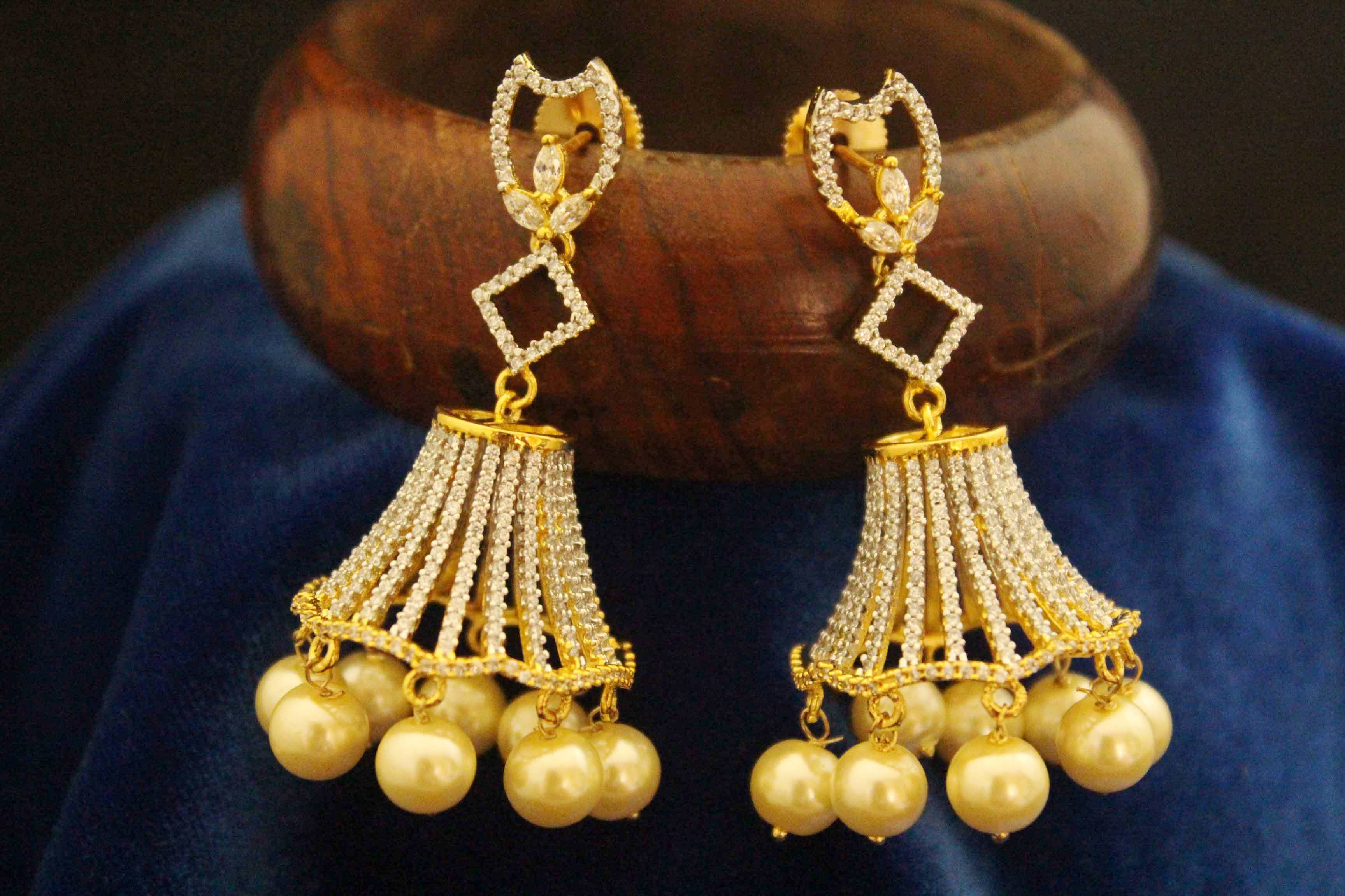 jhumka plated three diamond earrings step gold one elegant american gram stylish
